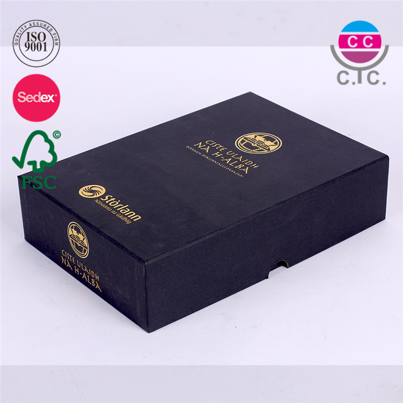 high quality black paper gift box package for book