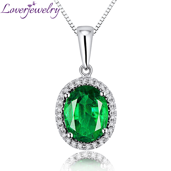 Oval 18Kt Solid White Gold Ring, Natural Diamond Emerald Wedding Pendant Necklace 8x10mm E0003