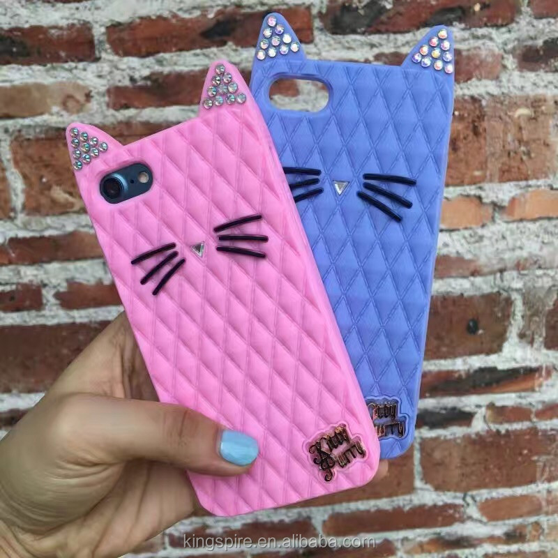 Lovely Soft Rubber Cover For iPhone 6s 6 5s 5 Kitty Diamond Cat Metal Cat Silicone Phone Case