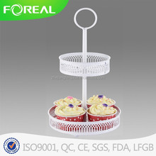 two layer fashional metal coat powder cups cake holder