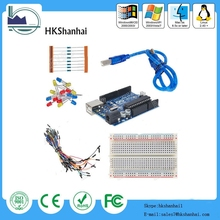 New arduino uno r3 starter kit for arduino UNO R3 board + Ethernet Shield W5100 for Ardu AVR Learner Good