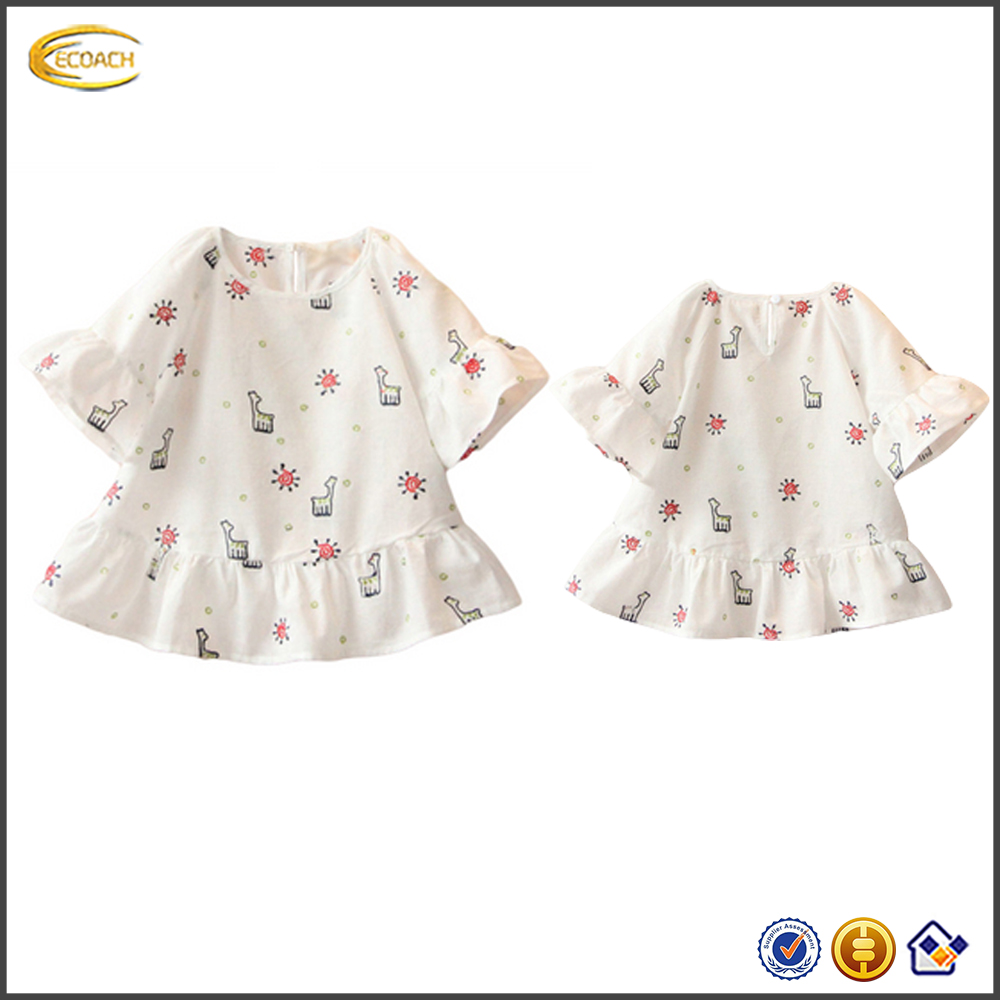 Ecoach Wholesale latest girls blouse design O Neck Flared Sleeve ruffle hem blouse top Cartoon embroidery Girls Blouse children