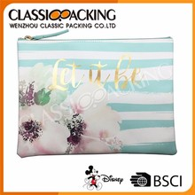Customized Makeup Bags Pu Leather Flower Printed Cosmetic Case