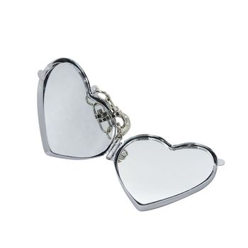 Latest design mini size beauty personal care cute heart shape pocket cosmetic mirror with keychain