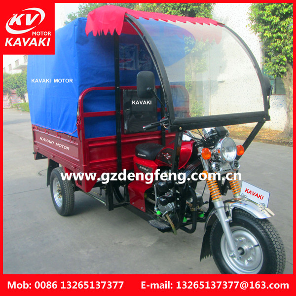 Guangzhhou factory 175CC Cargo Tricycle with Long Passenger Seats