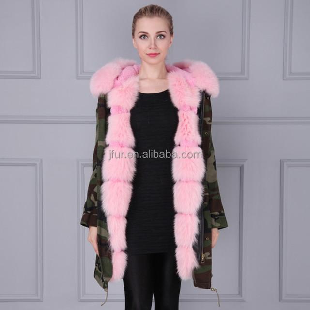 Women fur camouflage jackets winter coat pink fox fur lining collar hood jackets