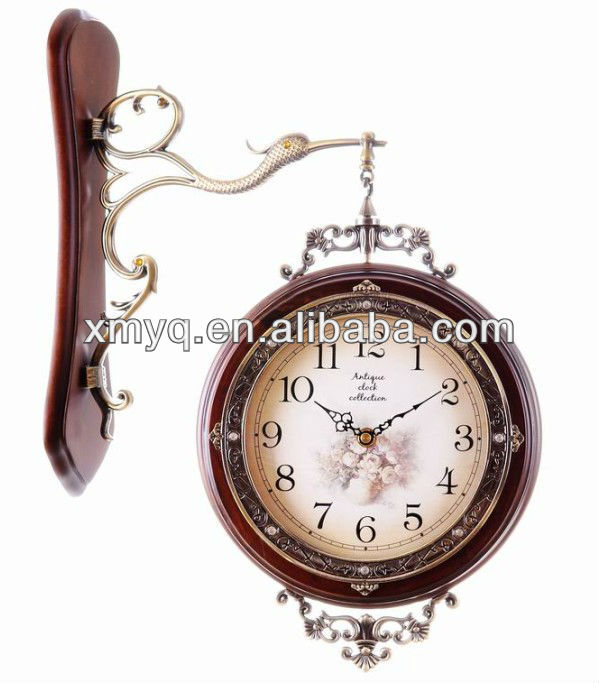 Home Decoration Hanging Double Side Wall Clocks Vintage For Wedding Gift