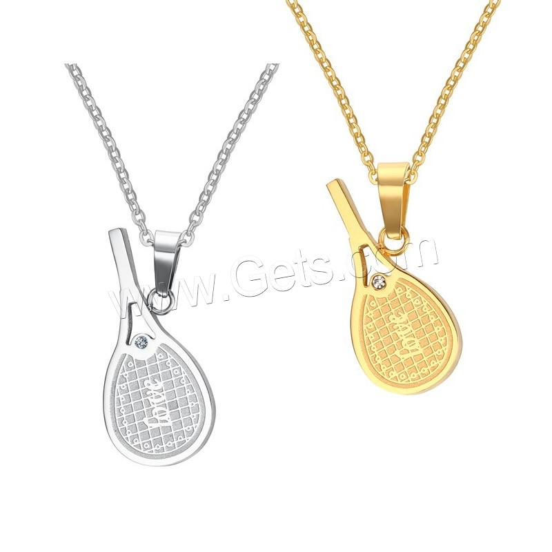 Fashion Stainless Steel Tennis Racket pendant with word love necklace for couples pendant necklace