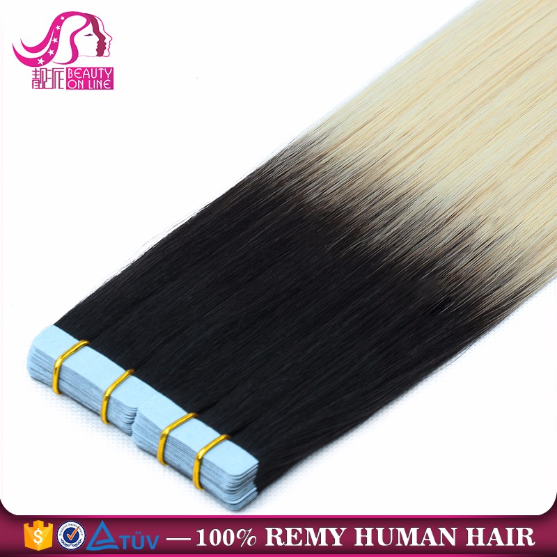Free Sample Brazilian Human Virgin Hair 100% European Hair Remy Tape Hair Extension with Highlights