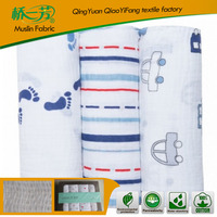 100% cotton print muslin gauze swaddle blanket diaper fabric for baby