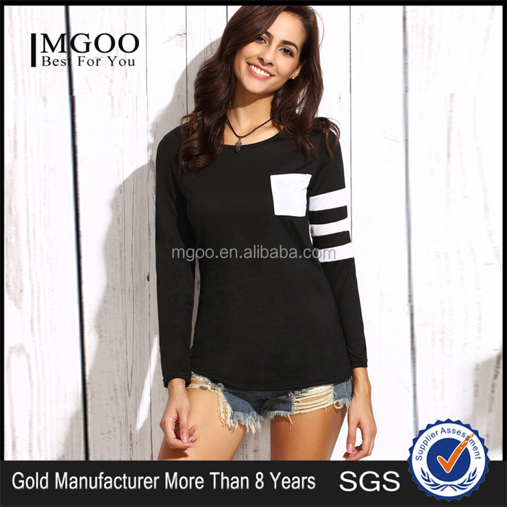 MGOO Custom Design Plain Black Crew Neck Women Long Sleeve T-shirt With White Pocket White Stripe