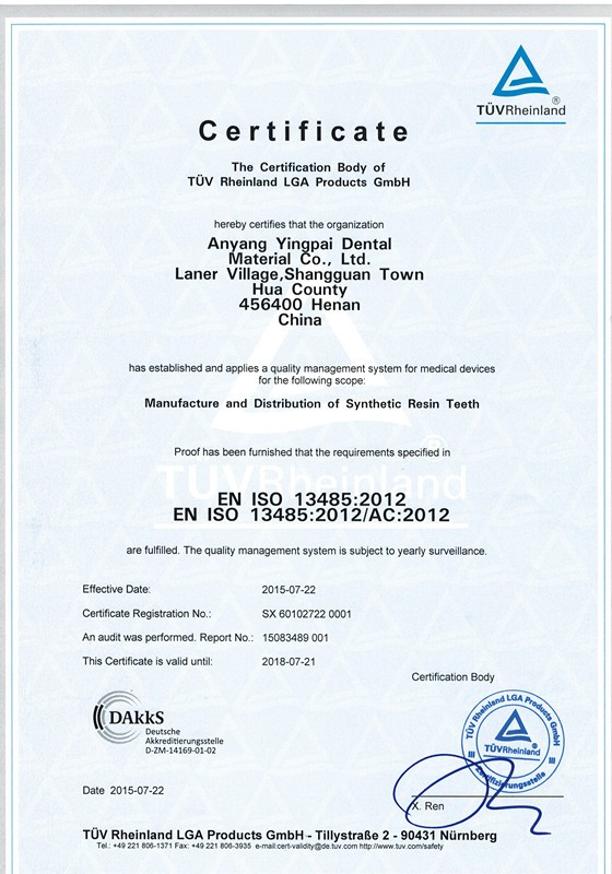 Manufacturer of 2 Layer Dental/acrylic teeth/ Acrylic Resin Teeth with CE and ISO certification