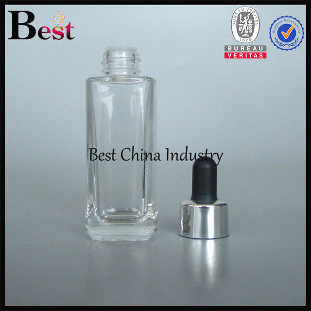 china manufacturer sealing high quality thick glass square bottle with black dropper 50 ml