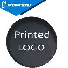 top pvc/pu/polyester/radial/velvet/chrome factory POPNOW spare wheel cover/spare tire cover with Custom Printed Logo