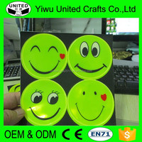 Strong Adhesion Round Funny Reflector Sticker Reflective Smile Face Stickers for Wall/Bags/Window/Car