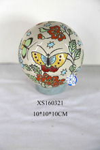 Hand painted butterfly ceramic ball ornament