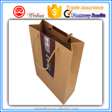Custom printed Natural brown kraft Groceries paper shopping bags with nylon rope handle