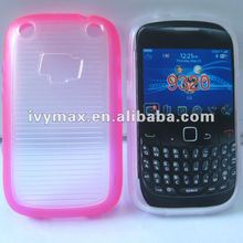 Newest pink TPU+clear PC hybrid case cover for blackberry 9320 case hot