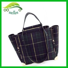 England stylish plaid handbags expandable canvas tote bag women hand bags 2015 designer