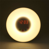 Desktop led sunrise wakeup light alarm clock for room