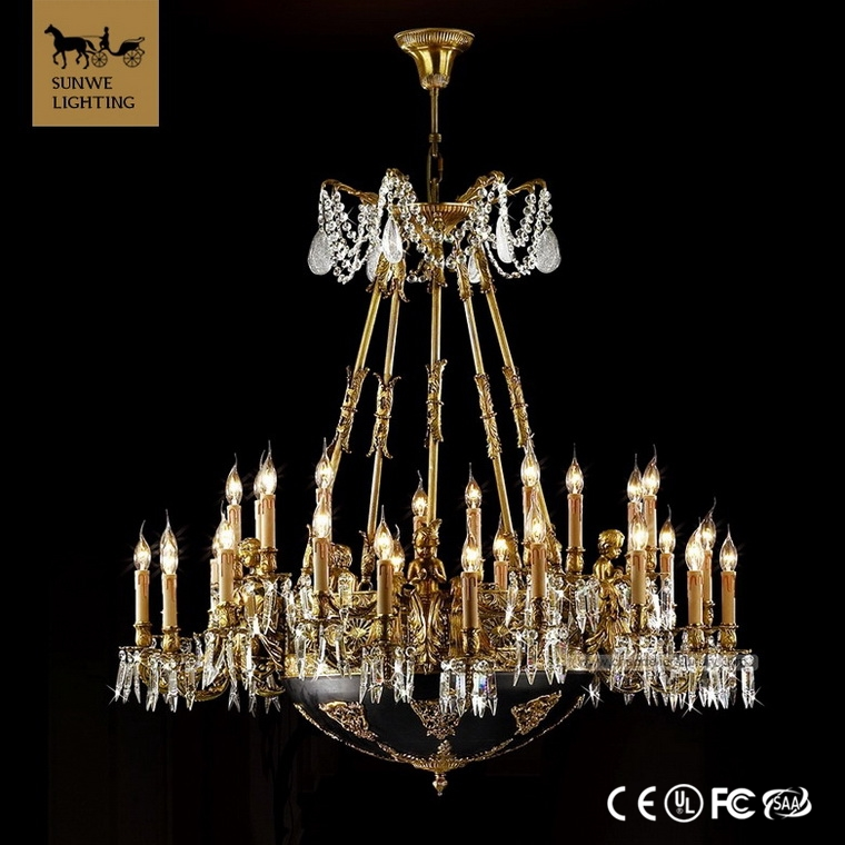 Design solutions international chandelier Baroque 30 Lights Large Hotel Candle Bronze imitating crystal acrylic chandelier