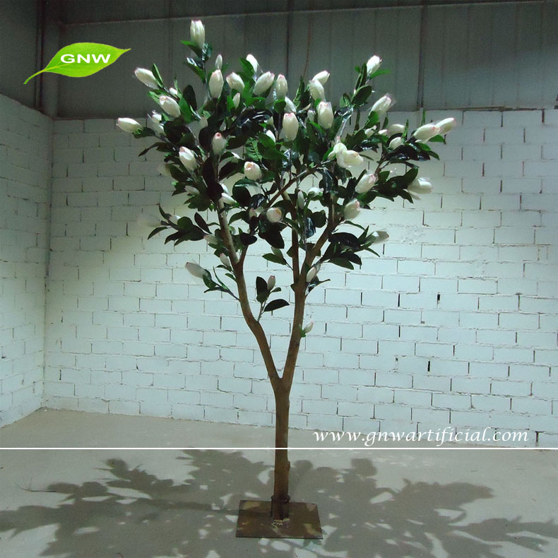 GNW BTR1505002 Chinese Feature White Artificial Magnolia Trees with green Leaves for Sale