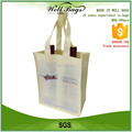 custom light yellow recycling non woven 2 bottles Wine beer tote shopper bag alibaba trade assurance