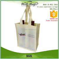 custom light yellow recycling non woven 2 bottles Wine beer tote shopper bag