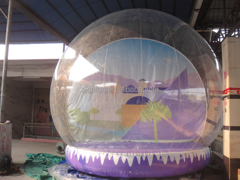 Crazy selling durable logo printing life size snow globe decoration, inflatable snow ball, inflatable snow globes for sale whole