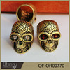 Wholesale gothic jewelry fashion Platinum red-eye person cranial indian skull ring