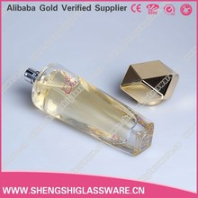 50ml custom made long round crystal glass spray perfume bottles with golden lid