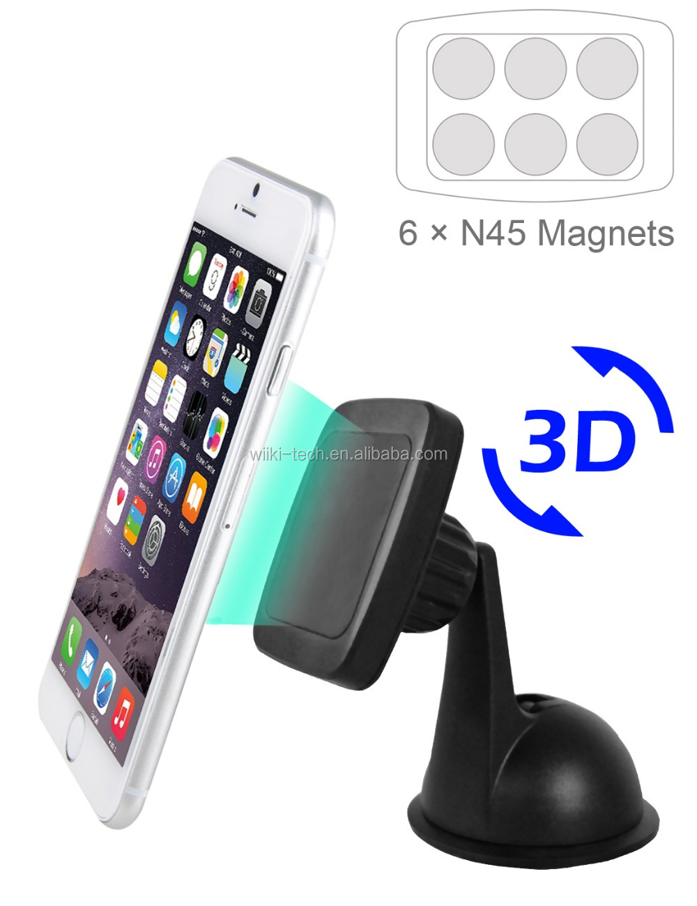 Car Mount Universal Suction Cup Dashboard Magnetic Phone Car Cradle Stand for ALL Smartphones