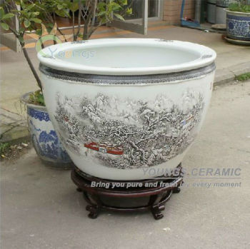 Retail big completely weatherproof porcelain ceramic fish pot and garden planter pot