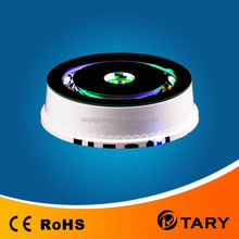 multi color led light rotating base with MP3 and FM radio for usb charge