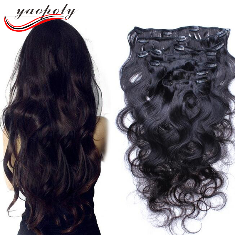 manufacturer wholesale Malaysian human hair wet and wavy clip in hair extensions for black women
