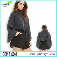 Wholesale OEM new autumn and winter high collar loose wild solid color bubble sleeves short sweater