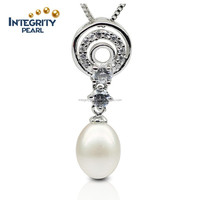 AAA Fashion 9-10mm 925 silver White Drop Freshwater Pearl Pendant