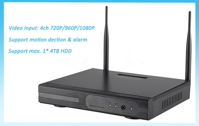 Manufacturer Day/night Surveillance P2P Wifi NVR Kit 4CH 720P Wireless Video Camera Systems