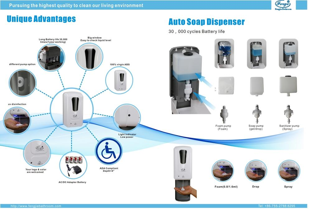 Automatic ABS soap dispenser with soap/foam/spray pumps