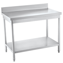 Assemble 2 Tiers Stainless Steel Kitchen Prep Work Table With Shelves And Splash Back