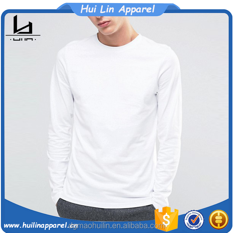 Chinese clothing manufacturers custom wholesale plain long sleeve pima cotton t shirt
