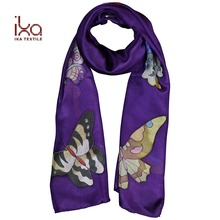Hand Paint Butterfly Purple Hand Rolled 100 Pure Silk Habotai Scarves