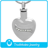 2016 Hot Sell Funeral Supplies for Cremation Urn Jewelry with Silver Heart Keepsake Cremation Pet Necklace with CZ Stone