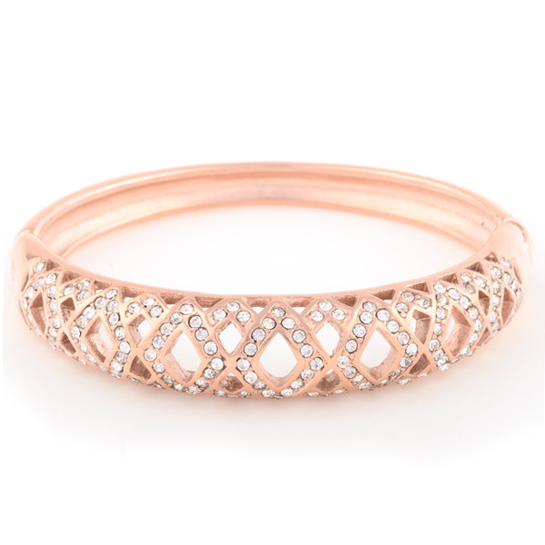 Fine Jewelry Solid 18k Rose Gold Natural Crystal Bangle