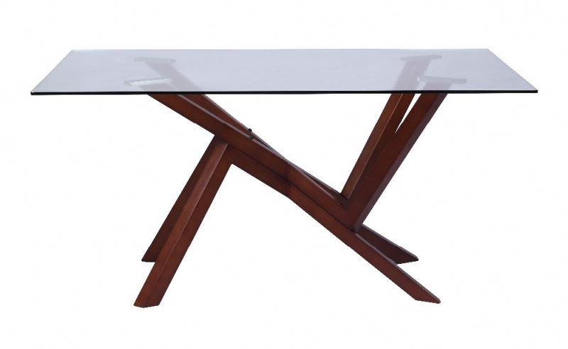 unique strong table with glass top and beech legs