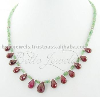 Emerald with Ruby Drops Beaded Necklace