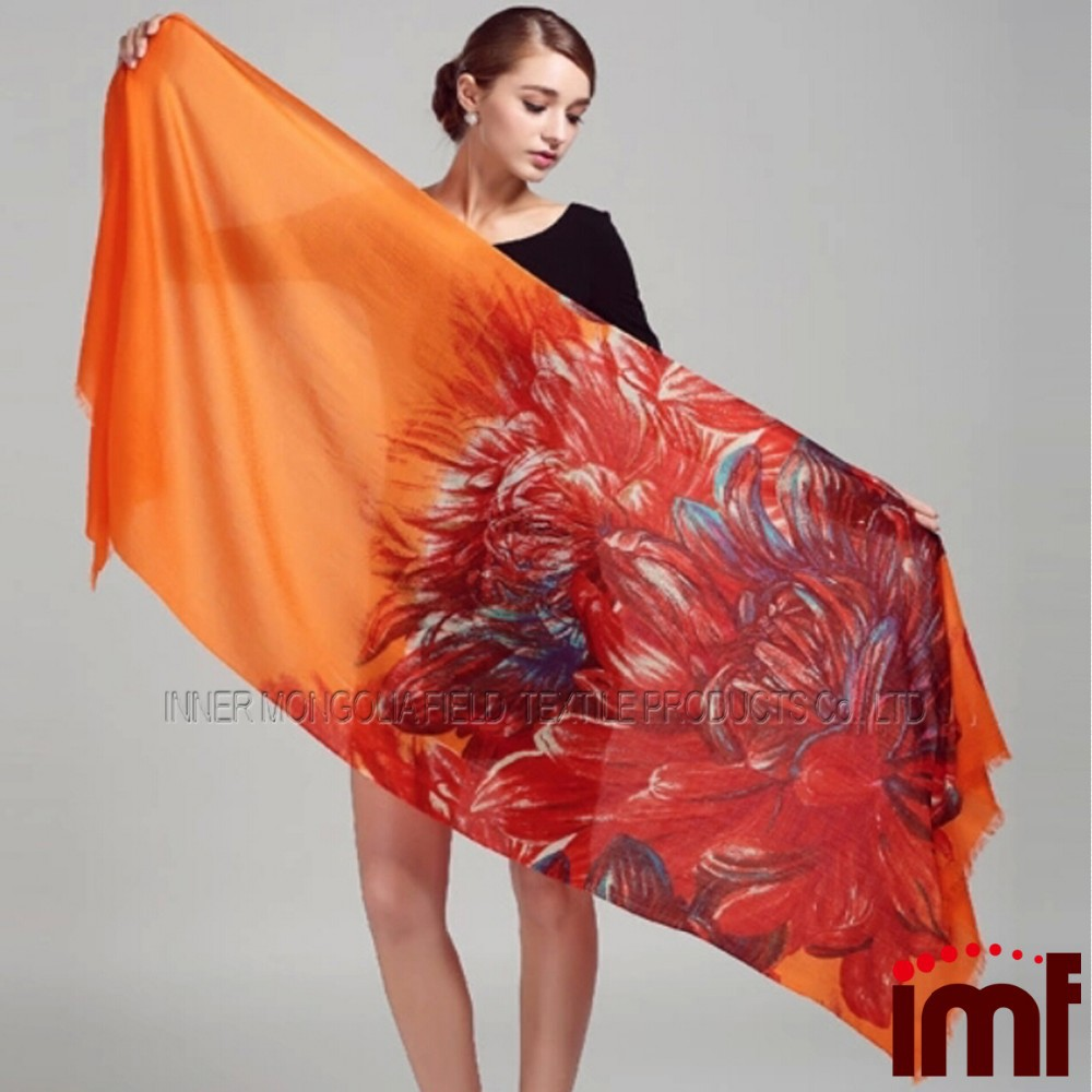Indian Water Soluble Kashmir Printed Wool Cape Shawl