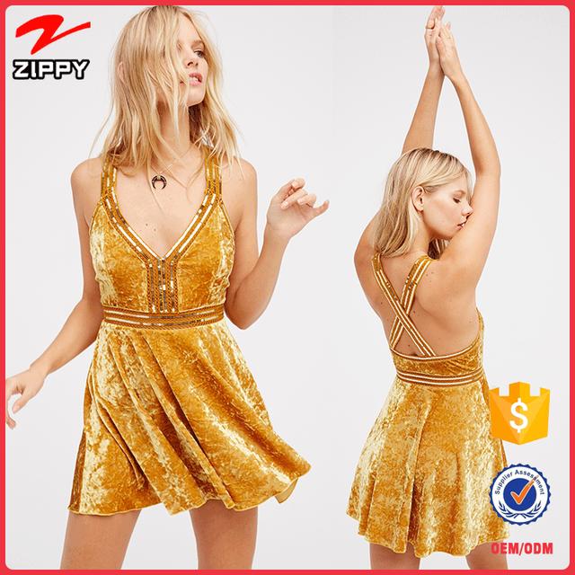 2017 Trend Fashion Latest Design Gold Sequin Little Velvet Dresses