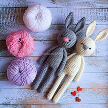 Wholsesale Baby Crochet Amigurumi Bunny Stuffed Toys 100% Handmade Animal Toy