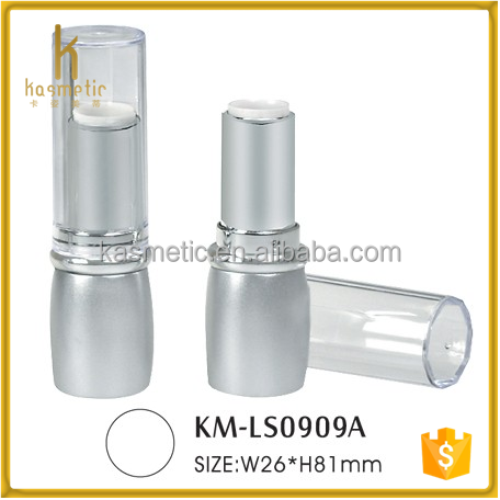 2016 New arrival silvery round empty plastic make your own lipstick tube for lip stick
